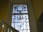 Beautiful Rennie Mackintosh school stained glass window
