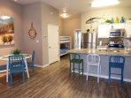 open floor plan with dinning kitchen combo, seats 7