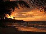 Le coucher de Soleil sur une plage des Caraïbes... A bientôt?