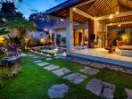 The villa by night exudes a romantic atmosphere