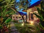 Mature tropical garden envelops the villa