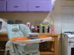 High chair, stroller and changing table can be provided, as well as a crib if you travel with a baby