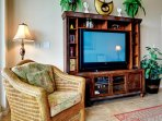 Large flat screen TV in the living room.