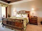 King size bed in the master bedroom.