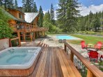 View from hot tub deck overlooking pool and fire pit