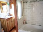 Master bath with custom vanity and soaking tub. Antique tiles from a Richmond Virginia estate.