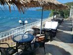 Beach bar tables and chairs by sea 900m walk or free shuttle (Royal Heights)