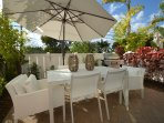 Private Relaxing Patio Terrace Offers: Dining Accommodates Six (6) + Oversized Umbrella + BBQ...