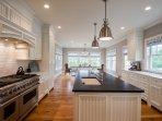 Chef's Kitchen with Center Island, Breakfast Bar, Professional Appliances