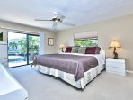 Master Bedroom with Flat Screen TV; Private Entrance to Pool Area; Fan!