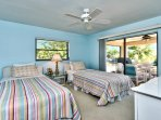 Twin Bedroom with Private Entrance to Pool Area; Fan!