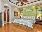 Master Bedroom with Private Entrance to Courtyard; Flat Screen TV; Fan; New Flooring!