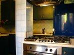 La cucina provvista di congelatore, lavastoviglie e lavatrice.
