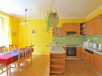 Comfortable kitchen with large dinning area