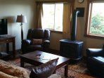 Leather rockers, full sofa,  gas fireplace, dvd's, music, books, and games ready to help you relax.