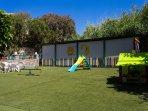 Fenced playground area