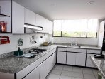 spacious kitchen with lots of light and view to the park