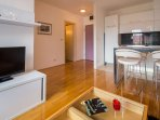 Living space is perfect for two but fits three without a problem