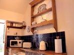 Under counter fridge, microwave, toaster & kettle