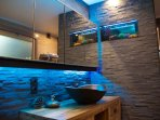 Badroom with, yes you see it correct, an Aquarium in the shower