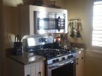 6 burner stove or 4 burners and griddle for pancakes.  Microwave is also a convection oven.