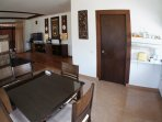 living room, dining table, kitchen