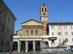 The Santa Maria Church in Trastevere area