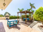 Pergola to rear with BBQ area and ample seating