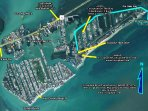 Arial View showing 10 minute ride to open ocean on your boat