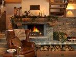 Roaring log fire in Chalet Merlo.