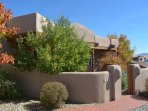 Approach to enclosed front entry and the sweetest golden delicious apple tree in all of Taos - for lucky 'autumn...