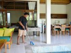 Your villa staff member will look after you and keep the villa clean.