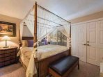 The master bedroom (1) has a king-sized bed, hardwood furnishings, HDTV, closet space and en suite bathroom with...