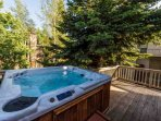 Your private hot tub, situated on the upper deck, that you can enjoy year-round.