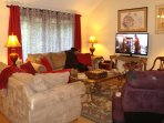 Living Room:  Comfortable for visitng & relaxing; 52' HDTV, DVD Player; Big Movie Library