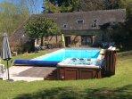 Swimming pool and hot tub.