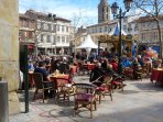 Cafe life in Limoux Square