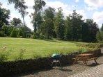 Saddlery dog-friendly gardens from Saddlery cottage patio.