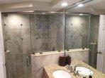 Floor to ceiling glass, chrome framed,  big, master shower.