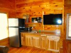 Kitchenette with full refrigerator & new 43' Hd TV