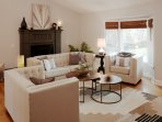 Open Concept Living Room, Kitchen, Dining, Deck with High Vaulted Ceilings