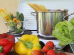 Cooking facilities: cookers, fridge and lovely fresh vegetables