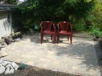 New tiled private patio built in May 2016, will have wooden garden furniture in the summer of 2016