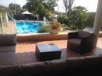 Terrace overlooking the pool