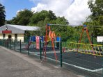 The childrens play area in Glan Gwna is very popular and right next to the pool.
