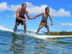Surfing is exciting fun