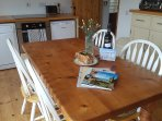 Spacious kitchen diner with welcome pack- flowers, wine and a traditional Cornish Saffron Cake.