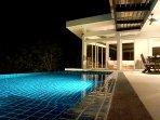 Swimming pool at night. Yes, it's still warm at night.