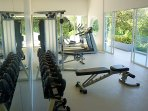 Full dumbell set, Cable Gym, treadmill & Orbital trainer in airconditioned room.