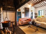 Casale Le Fonti - Living room 1st floor - fireplace